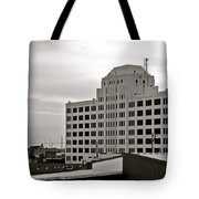 Port Of Galveston Building In B And W Tote Bag
