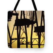 Port Of Seattle Cranes Silhouetted Tote Bag