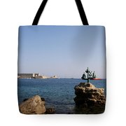 Port Of The Myloi And Dolphins - Rhodos Citys Tote Bag