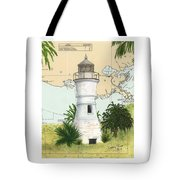 Port Pontchartrain Lighthouse La Chart Map Art Tote Bag