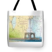 Port Washington Lighthouse Wi Nautical Chart Map Art Tote Bag