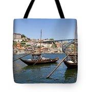 Port Wine Boats In Porto City Tote Bag