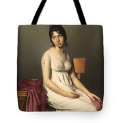 Portait Of A Young Woman In White Tote Bag