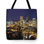 Portland Cityscape And Freeway At Blue Hour Tote Bag