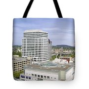 Portland Downtown Cityscape With River And Mountain Tote Bag