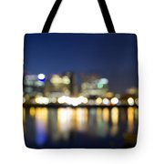Portland Downtown Out Of Focus City Lights Tote Bag