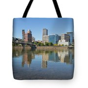 Portland Downtown Skyline And Hawthorne Bridge Tote Bag