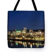 Portland Downtown Skyline At Blue Hour Tote Bag