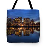 Portland Downtown Skyline At Blue Hour Panorama Tote Bag