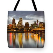 Portland Downtown Skyline At Sunset Tote Bag