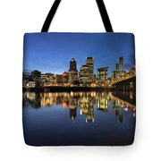 Portland Downtown Skyline By Hawthorne Bridge At Blue Hour Panor Tote Bag