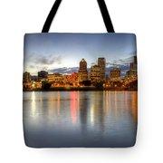 Portland Downtown Skyline Night Panorama 2 Tote Bag