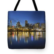 Portland Downtown With Hawthorne Bridge At Blue Hour Tote Bag