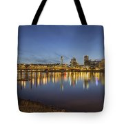 Portland Downtown With Hawthorne Bridge At Dusk Tote Bag