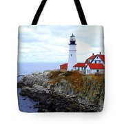 Portland Head Light House In Maine Tote Bag