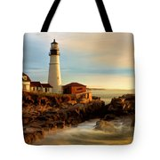 Portland Head Lighthouse At Dawn Tote Bag