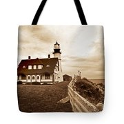 Portland Head Lighthouse In Sepia Tote Bag