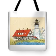 Portland Head Lighthouse Me Nautical Chart Map Art Tote Bag