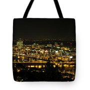 Portland Night Skyline Along Willamette River Panorama Tote Bag