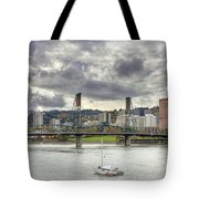 Portland Oregon Downtown Along Willamette River Tote Bag