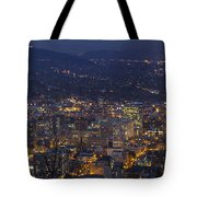 Portland Oregon Downtown Cityscape At Blue Hour Tote Bag
