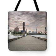 Portland Oregon Downtown Skyline By The Marina At Sunset Tote Bag