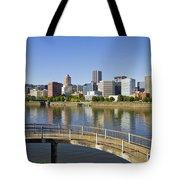 Portland Oregon Downtown Skyline Reflection 4 Tote Bag