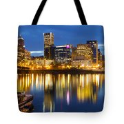 Portland Oregon Downtown Waterfront At Blue Hour Tote Bag
