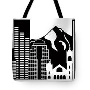 Portland Oregon Skyline Black And White Illustration Tote Bag