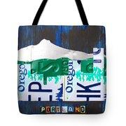 Portland Oregon Skyline License Plate Art Tote Bag by Design Turnpike