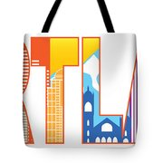 Portland Oregon Skyline Text Outline Color Illustration Tote Bag