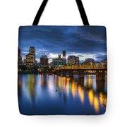 Portland Oregon Waterfront At Blue Hour Tote Bag