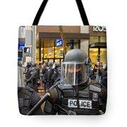 Portland Police In Riot Gear Closeup Tote Bag