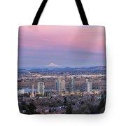 Portland South Waterfront At Sunset Panorama Tote Bag