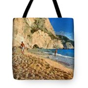 Porto Katsiki Beach In Lefkada Island Tote Bag by George Atsametakis