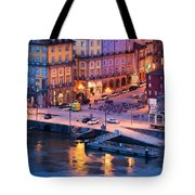 Porto Old Town In Portugal At Dusk Tote Bag