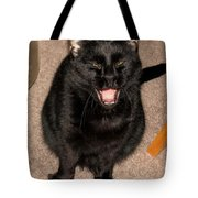 Portrait Of A Black Shorthair Cat With Open Mouth Tote Bag
