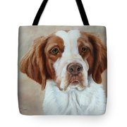 Portrait Of A Brittany Spaniel Tote Bag