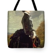 Portrait Of A Lady In Black With A Dog Tote Bag