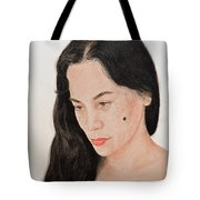 Portrait Of A Long Haired Filipina Beautfy With A Mole On Her Cheek Tote Bag by Jim Fitzpatrick