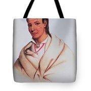 Portrait Of A-mis-quam, A Winnebago Brave Coloured Engraving Tote Bag
