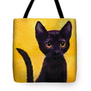 portrait of a small black cat named  LuLu Tote Bag