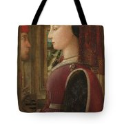 Portrait Of A Woman With A Man At A Casement Tote Bag