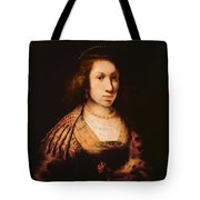 Portrait Of A Young Woman With A Carnation, C.1642 Oil On Canvas Tote Bag