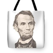 Portrait Of Abraham Lincoln On White Background Tote Bag