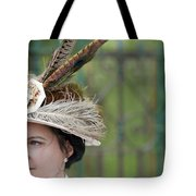 Portrait Of An Edwardian Woman With Feathered Hat Tote Bag