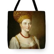 Portrait Of An Unknown Woman In Russian Costume Tote Bag