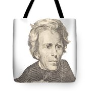 Portrait Of Andrew Jackson On White Background Tote Bag