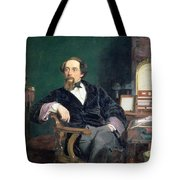 Portrait Of Charles Dickens Tote Bag