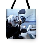 Portrait  Of Fishing Reel On Boat While Tote Bag